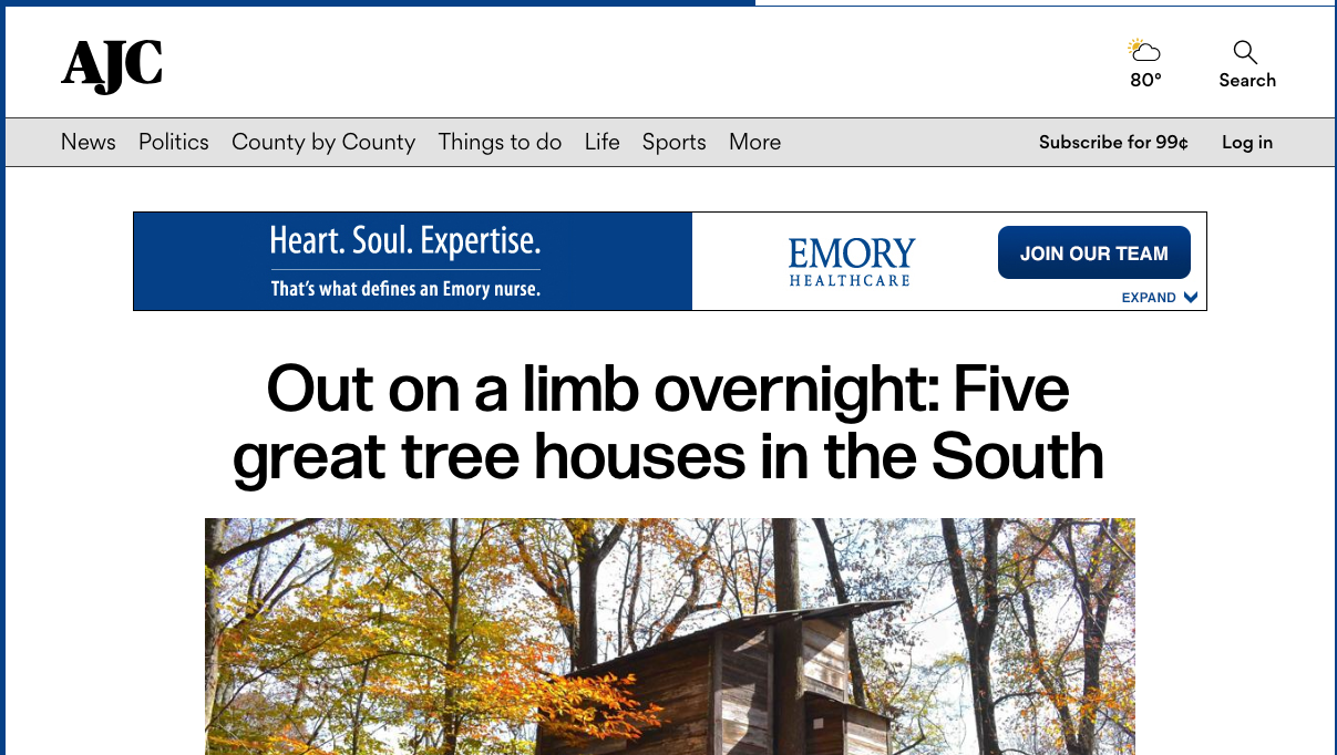 World Treehouses' owner, Adam Laufer, quoted in Atlanta Journal-Constitution!