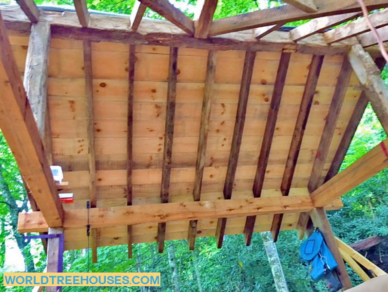 Western NC Treehouse: The roof is going up on our Panthertown project!
