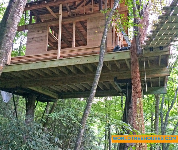 WNC treehouse builders : Panthertown Side View with Sheathing