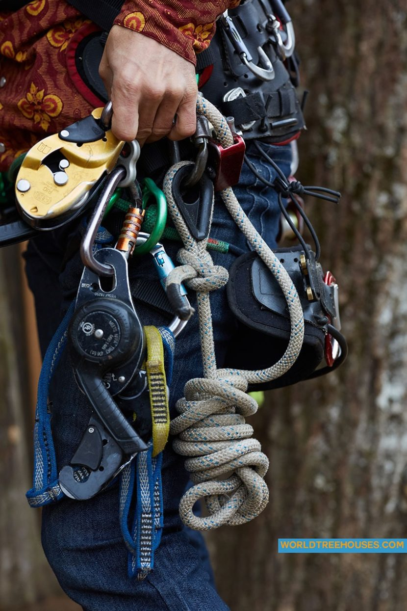 NC treehouse builders: Panthertown Adam Laufer in harness for ...