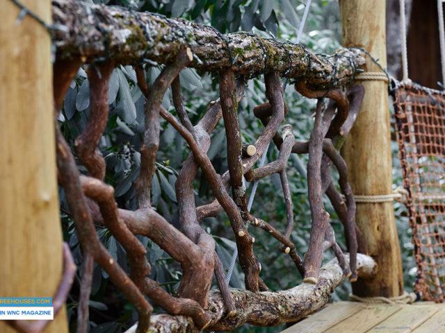 NC treehouse builders : Panthertown treehouse mountain laurel railing