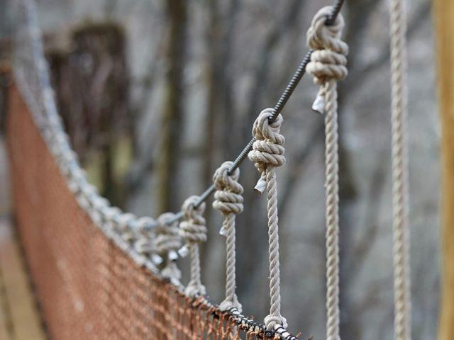WNC treehouse builder : Panthertown rope bridge detail