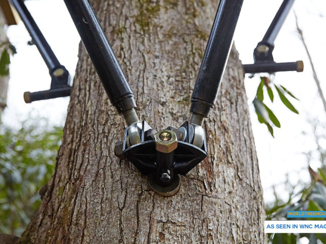 Asheville treehouse builder : Artificial limbs make things easy on the trees.