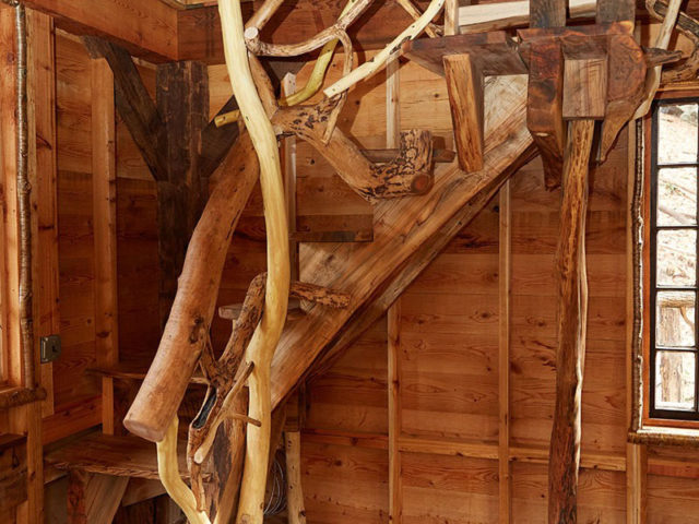 WNC tree house builders : Custom staircase made from trees