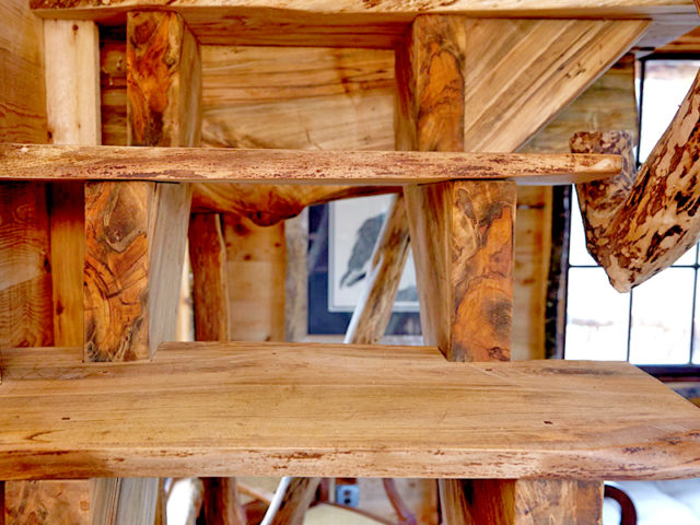 WNC tree house builders: Panthertown treehouse:  These custom stairs are crafted from salvaged, harvested wood