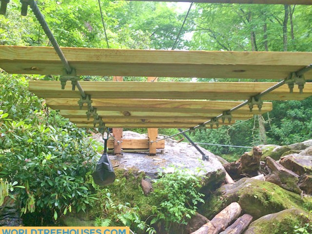 NC TREE HOUSE BUILDERS: Panthertown swimming hole access: Bridge navigates slick terrain…